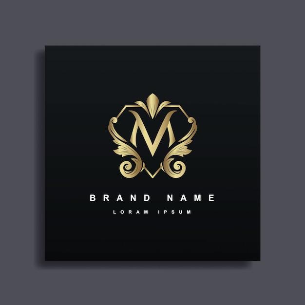 Luxus logo design mit monogramm buchstabe m, goldene farbe, luxus gedeihen dekorativen stil Premium Vektoren