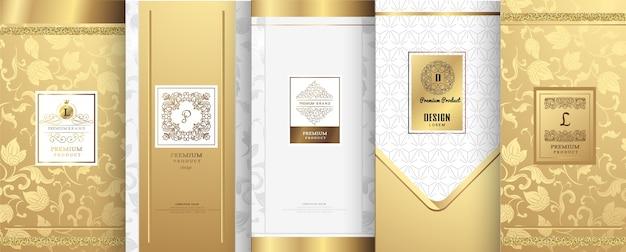 Luxus-logo und gold-verpackungsdesign Premium Vektoren