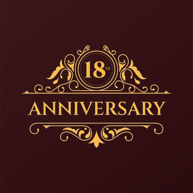 Luxus-logo zum 18. jahrestag Kostenlosen Vektoren