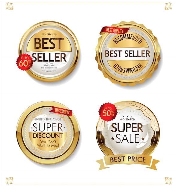 Luxus-premium-goldene abzeichen und etiketten Premium Vektoren
