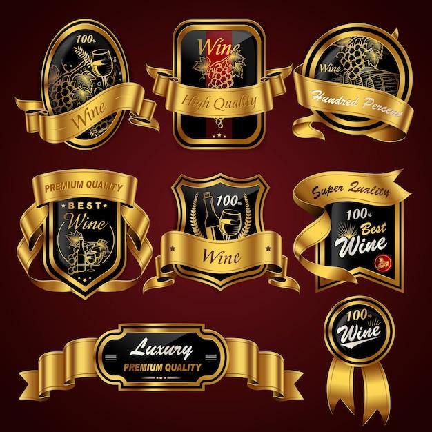 Luxus premium weinetiketten set kollektion mit goldenen bändern Premium Vektoren