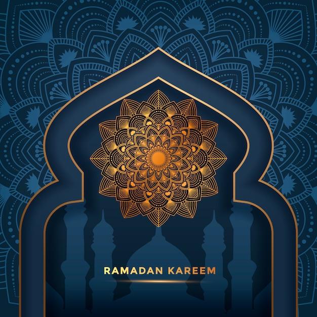 Luxus ramadan kareem mandala hintergrund, grußkarte Premium Vektoren