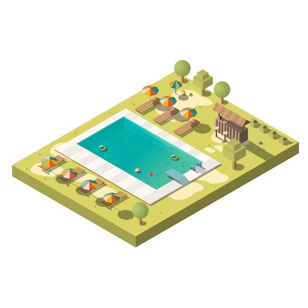 Luxus-resort-pool isometrisch Kostenlosen Vektoren