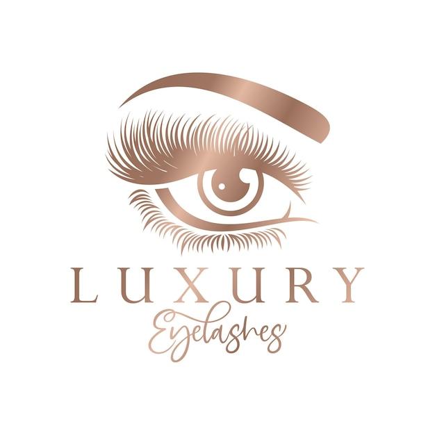 Luxus schönheit wimpern logo design Premium Vektoren