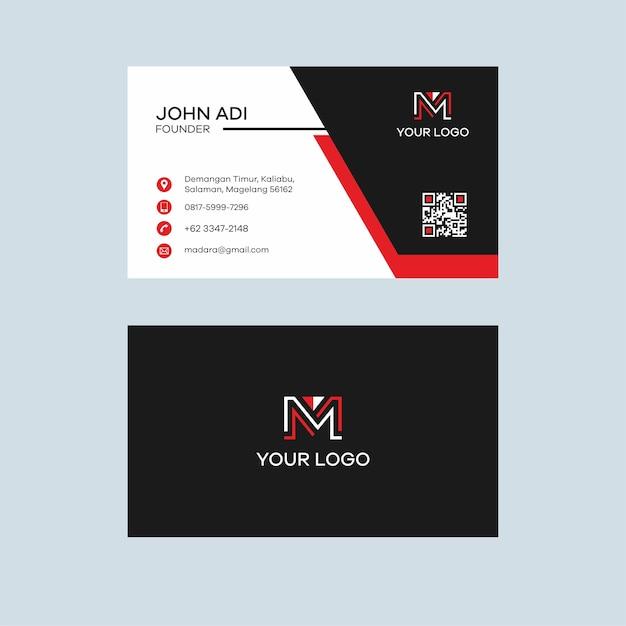 Luxus Schwarz Und Rot Visitenkarte Design Premium Vektor