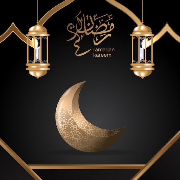Luxus schwarzer islamischer hintergrund mit mandala- und goldlaternenillustration Premium Vektoren
