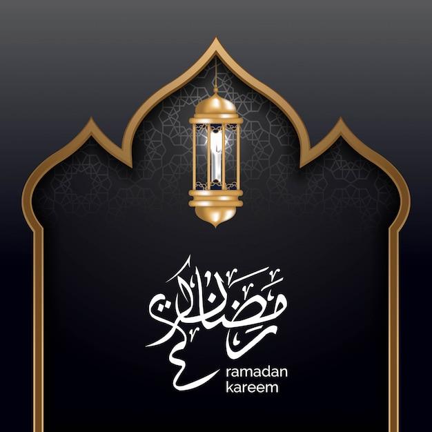 Luxus schwarzgold islamische hintergrundillustration Premium Vektoren