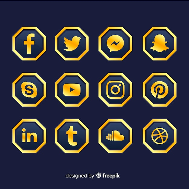 Luxus-social-media-logo-sammlung Kostenlosen Vektoren