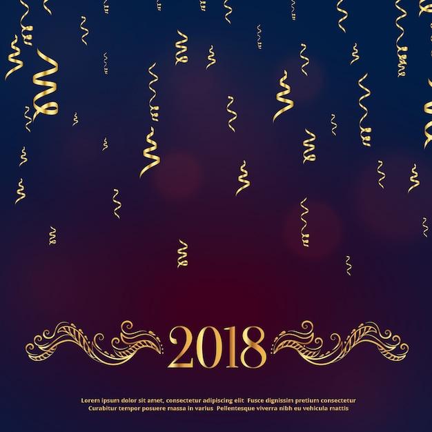 Luxus-Stil 2018 Frohes neues Jahr Gruß mit goldener Blumendekoration ...