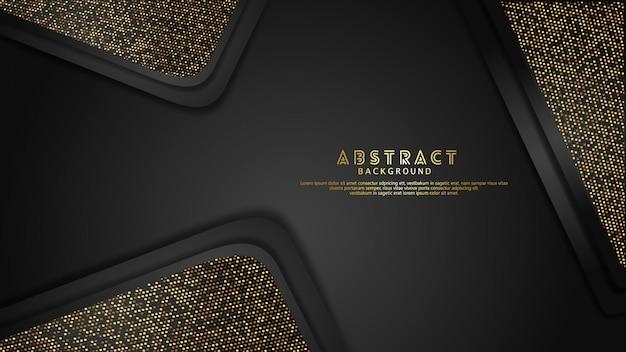 Luxus und elegantes gold und schwarz überlappen schichthintergrund mit funkelneffekt Premium Vektoren