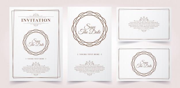 Luxus vintage einladungskarte Premium Vektoren