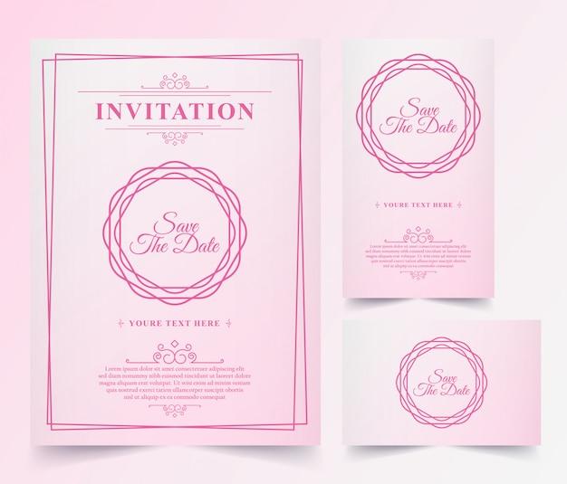 Luxus vintage pink einladungskarte Premium Vektoren