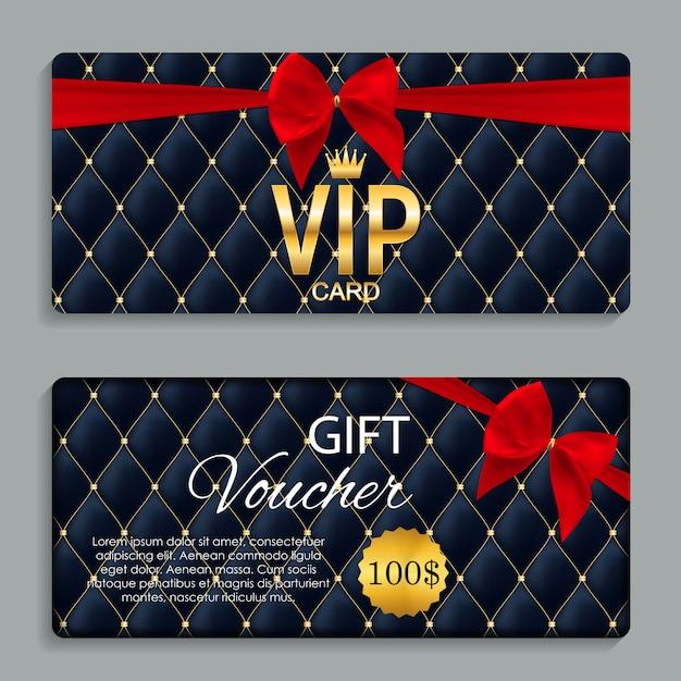 Luxus vip members karte und geschenkgutschein Premium Vektoren