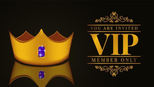 Luxus-vip-mitgliedskarte mit goldener krone Premium Vektoren