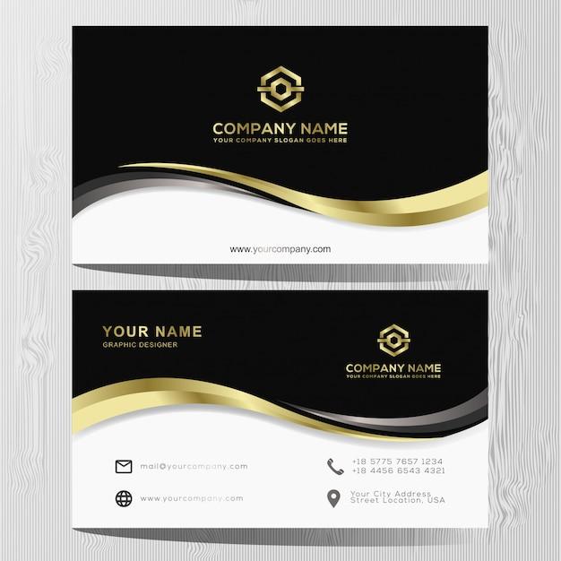 Luxus Visitenkarte Gold Und Silber Vorlage Premium Vektor