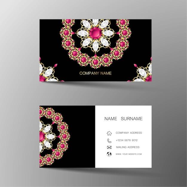 Luxus-visitenkarte. von diamanten inspiriert. Premium Vektoren