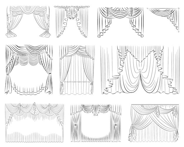 Luxus-vorhang-set Premium Vektoren