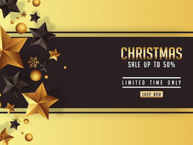 Luxus-weihnachtsverkaufsplakat mit goldenen sternen enteignen Premium Vektoren