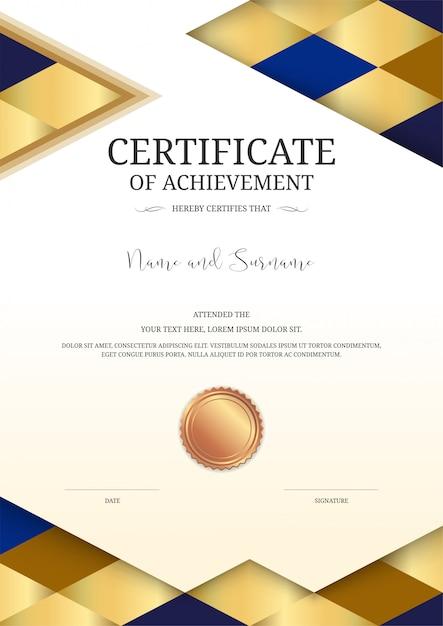 Luxus-zertifikatvorlage Premium Vektoren