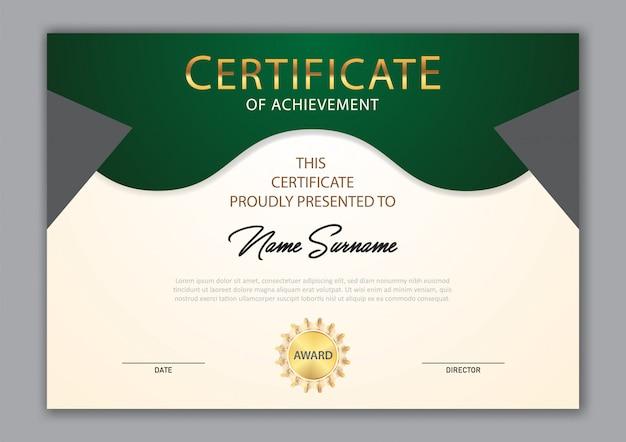 Luxusdesign der zertifikatschablone mit textelement, diplom Premium Vektoren