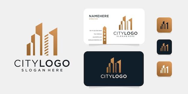 Luxusgebäude-logoentwurf mit visitenkartenschablone. Premium Vektoren