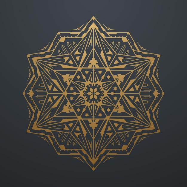 Luxusgoldabstrakter geometrischer mandala art pattern. auf schwarzem hintergrund. vektor-illustration Premium Vektoren