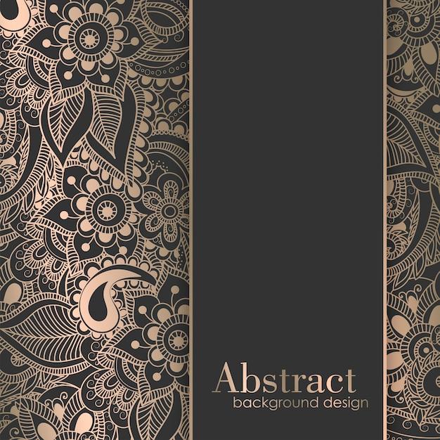 Luxusgoldhintergrundschablone mit zentangle hand gezeichneten blumen Kostenlosen Vektoren