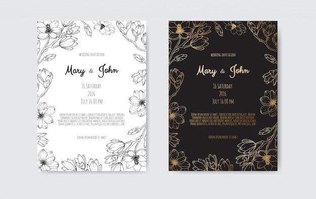Luxushochzeit save the date, einladung navy cards collection mit goldfolienblumen und -blättern und -kranz. Premium Vektoren