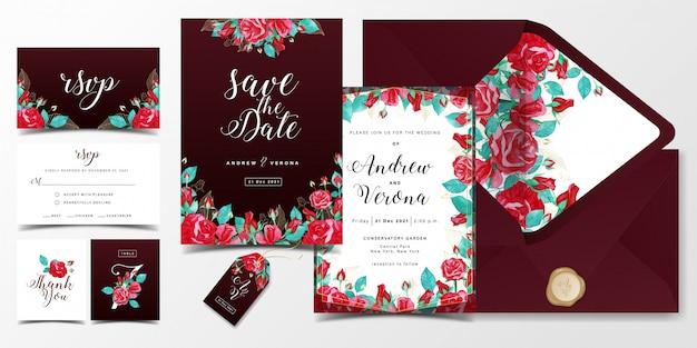 Luxushochzeitseinladungs-kartenschablone im burgunder-farbthema mit rotrosen-aquarelldekoration Premium Vektoren