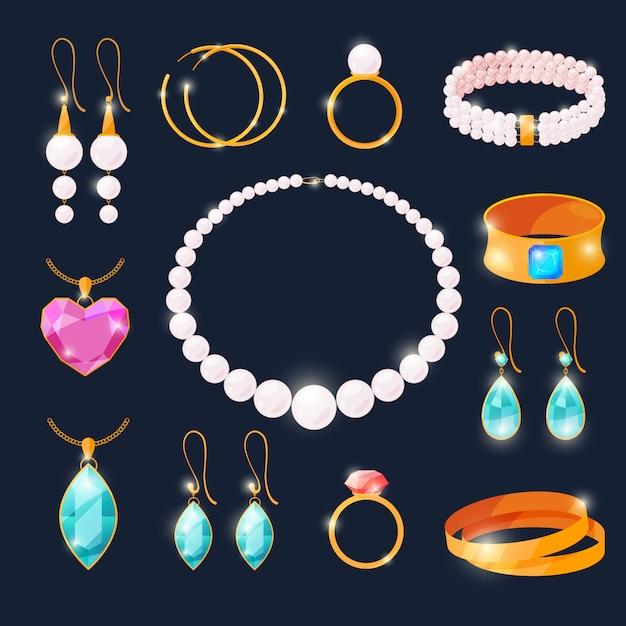 Luxusjuwelen eingestellt. ringe mit diamanten und anderem schmuck. Premium Vektoren
