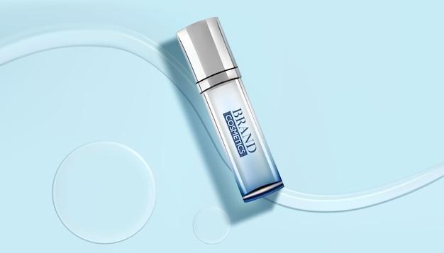 Luxuskosmetikflaschenpaket, weiße kosmetikprodukte mit wassertropfen auf cyanfarbenem hintergrund Premium Vektoren