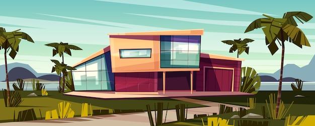 Luxuslandhaus auf tropischer strandkarikaturillustration. Kostenlosen Vektoren