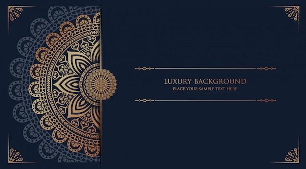 Luxusmandalahintergrund mit arabischer islamischer ostart des goldenen arabeskenmusters Premium Vektoren