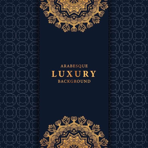 Luxusmandalahintergrund mit goldener islamischer musterart der arabeske Premium Vektoren