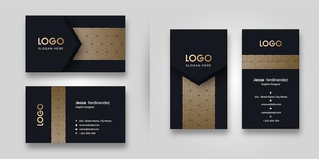 Luxusmuster-dunkelheits-visitenkarte-schablone Premium Vektoren