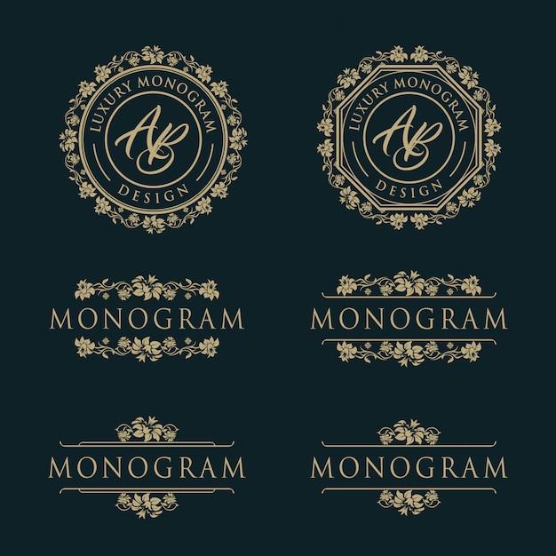 Luxusschablonendesign für hochzeit und dekoration Premium Vektoren