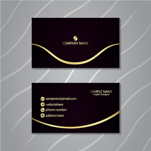 Luxusvisitenkarte mit glühender goldlinie. Premium Vektoren