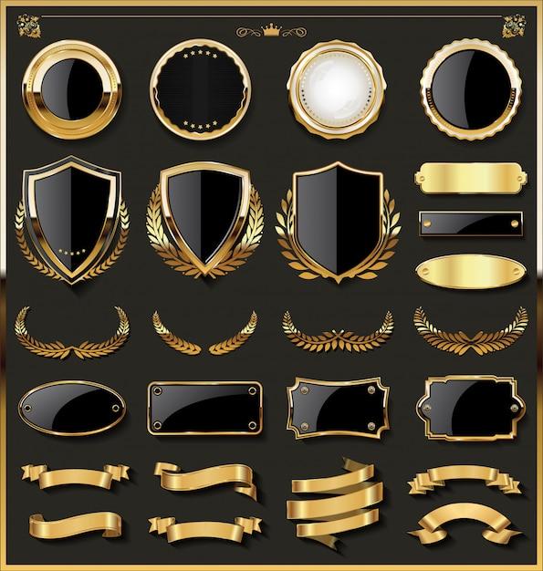 Luxuxgoldabzeichen und Aufklebergestaltungselementsammlung Premium Vektoren