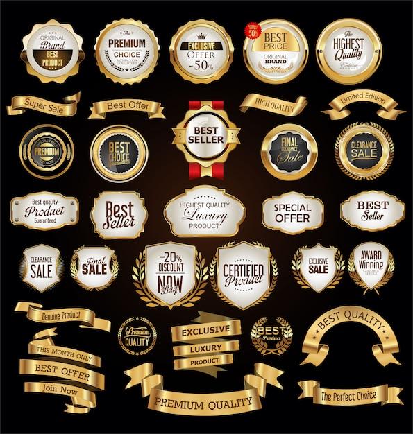 Luxuxprämie goldene abzeichen und kennsätze Premium Vektoren
