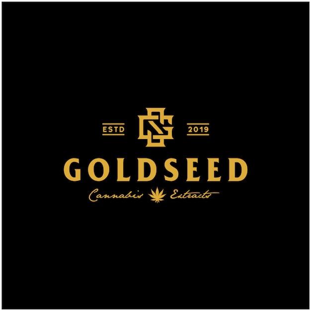 Luxuxweinlese goldenes cbd hanflogo Premium Vektoren