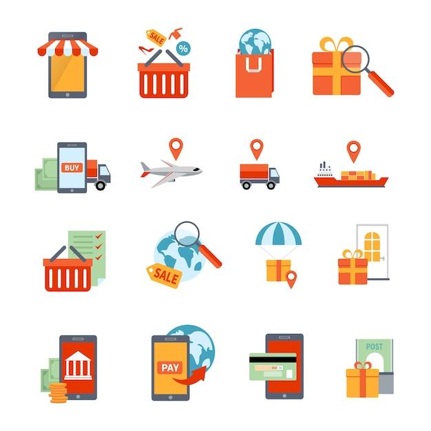 M-commerce-ikonen eingestellt Kostenlosen Vektoren