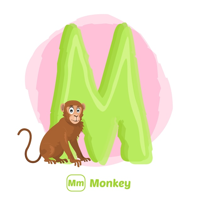 M für affen. premium-illustrationszeichnungsstil des alphabet-tieres für bildung Premium Vektoren