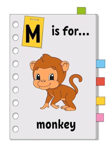 M ist für affen. abc-spiel für kinder. wort und brief. wörter lernen, um englisch zu lernen. Premium Vektoren
