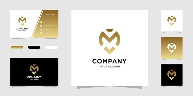 M standort logo vorlage und visitenkarte Premium Vektoren