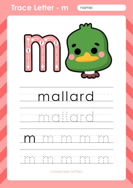 M stockente: arbeitsblatt alphabet az tracing letters - übungen für kinder Premium Vektoren