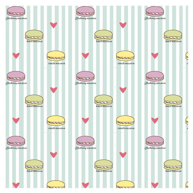 Macaron und Herz auf blauer Linie Muster | Download der Premium Vektor