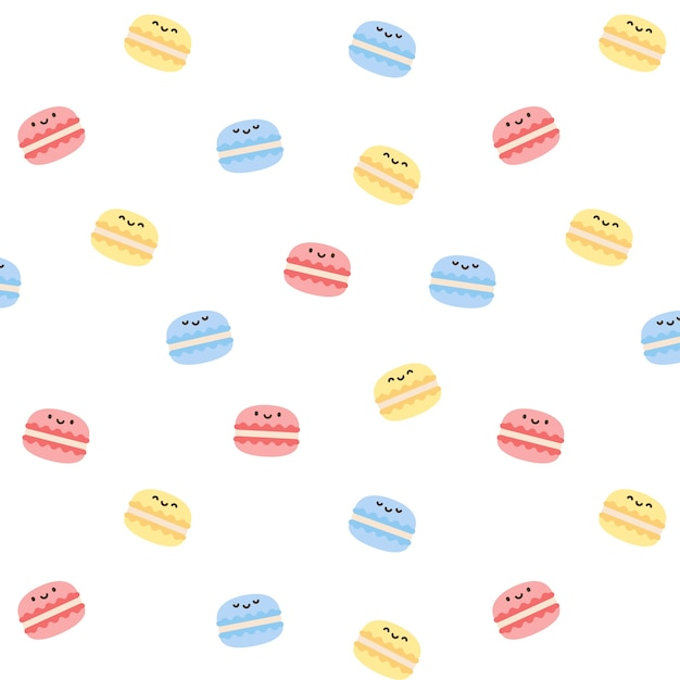 Macarons nahtlose muster hintergrund Premium Vektoren