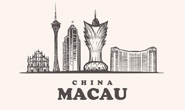 Macau skyline, china vintage illustration, handgezeichnete gebäude von macau stadt, auf weißem hintergrund. Premium Vektoren