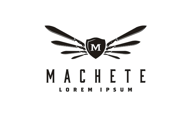 Machete und wings shield logo design-inspiration Premium Vektoren