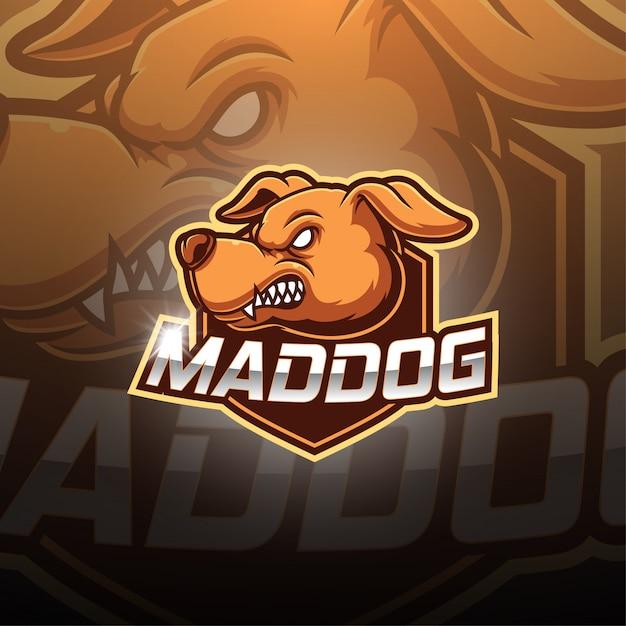 Mad dog esport maskottchen logo Premium Vektoren